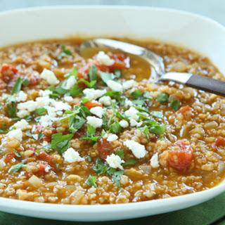 Tomato Bulgur Soup with Warm Spices.