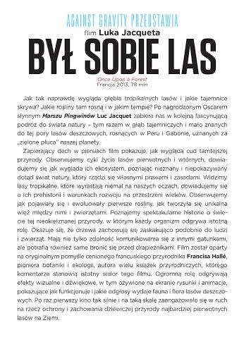 Tył ulotki filmu 'Był Sobie Las'