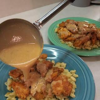 Tony's Chicken Paprikash over Spaetzle (Dumplings).