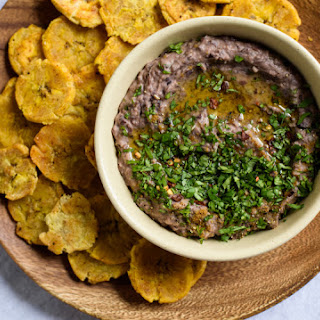 Black Bean Dip with Baked Plantains.