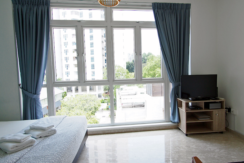 Open plan bedroom at Ava Road Apartments, Balestier