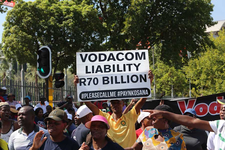 Pleasecallme movement protesting outside Vodacom head office in Midrand. They are protesting in support of Nkosana Makate. Makate invented Please Call Me. 31 January 2019.