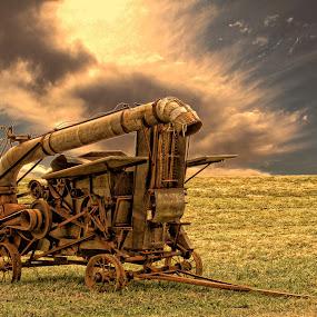 Farm Machinery by Dennis Granzow - Landscapes Prairies, Meadows & Fields ( field, digital art, old farm machinery, ohio rural, landscape )