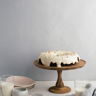 Chocolate Bundt Cake with Almond-y Cream Cheese Frosting.