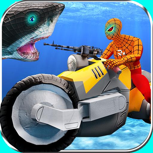 Moto Spider vs Monster Sharks