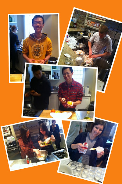 Photo: So we cracked eggs, marinated the chickens, cut up oranges, whisked the mixture, and measured the cream :)