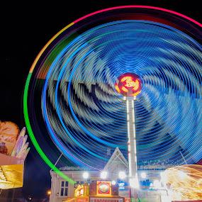 Karusell by Tommy Johansen - City,  Street & Park  Amusement Parks ( amusement, fun, light, tivoli, longexposure )