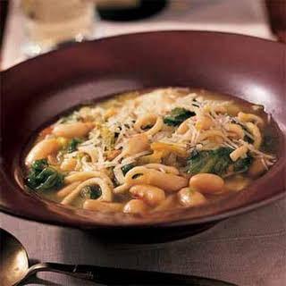 White Bean, Chicken Noodle, and Escarole Soup.