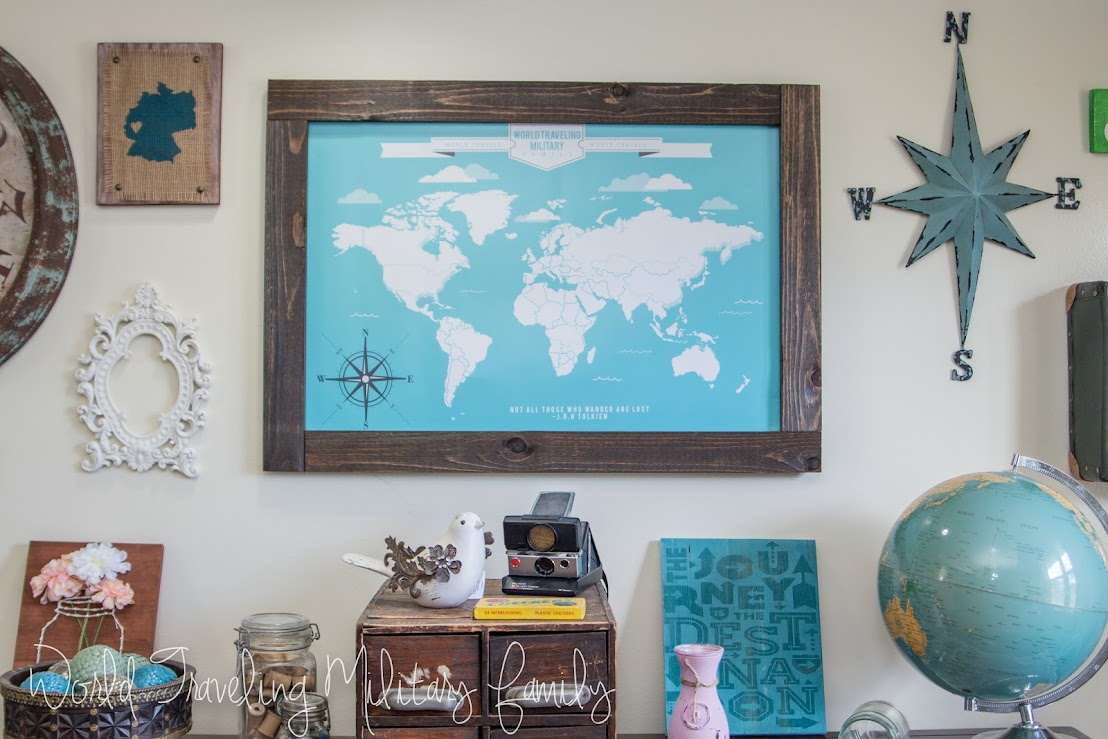 Travel gallery wall travel map art world traveling military family the center focal point is the travel map from 76th newbury it came as a print so we had to find a frame for it i knew that was going to gumiabroncs Gallery