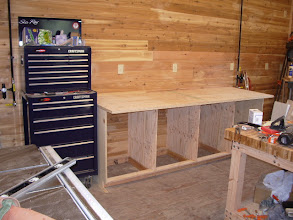 """Photo: I'm currently using a piece of 1"""" plywood for the top. That will change in the future (as time permits) as right now I just want to get all my tools moved into the their new homes..."""