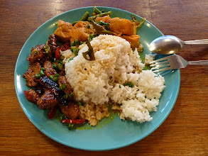 Photo: KL (Kuala Lumpur) - delicious vegetarian (!) dish (I've added chillies) with two big spoons of toppings with rice for 3.5rm at centre of chinese market on the eastern side in the middle in some small food court, photo taken 110128