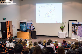 Photo: Prof Euan Wallace, Director of the Ritchie Centre at Monash Health, describing in this slide how funding has grown in relative terms for basic science, clinical medicine, public health and health services research. The basic science informs the development of effective therapeutics. http://www.med.monash.edu.au/cecs/events/2015-tr-symposium.html