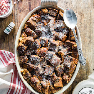 Boozy Chocolate Peppermint Bread Pudding.