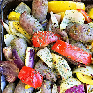 Pesto Bratwurst Sheet Pan Dinner.