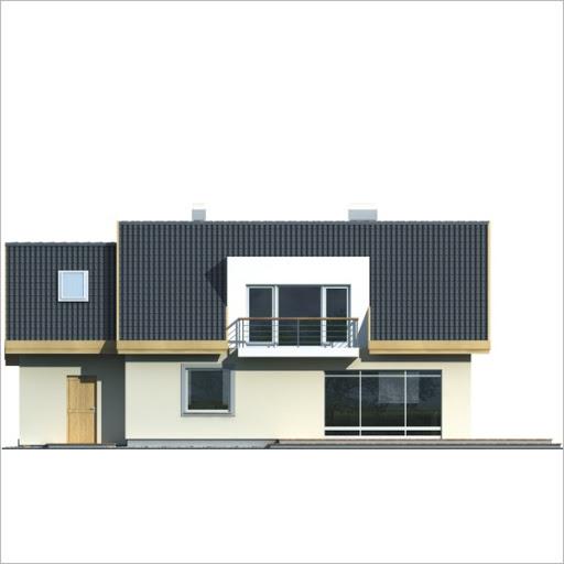 Adaś II wersja B z pojedynczym garażem - Elewacja tylna
