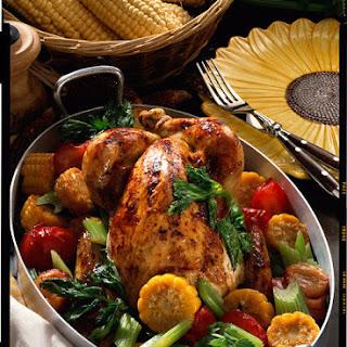 Roast Chicken with Summer Vegetables.