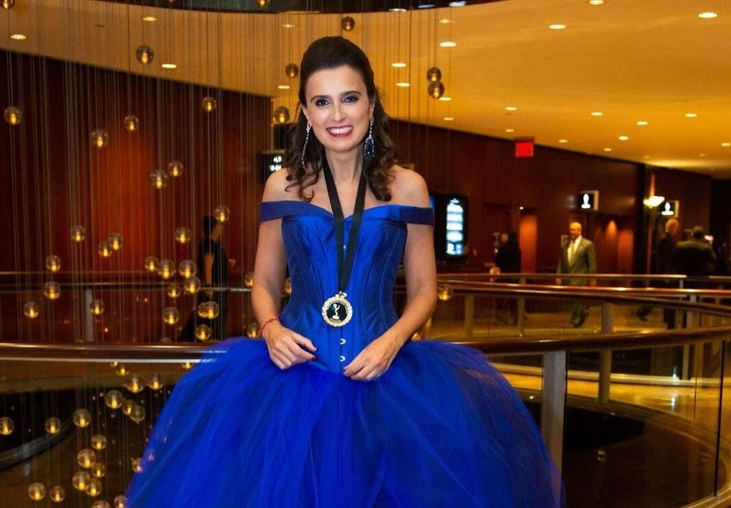Maria João Costa, a autora de Ouro Verde, na gala dos Emmy Awards