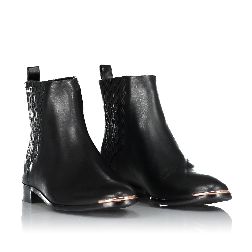 TED BAKER Liveca Elastic Detail Leather Ankle Boots