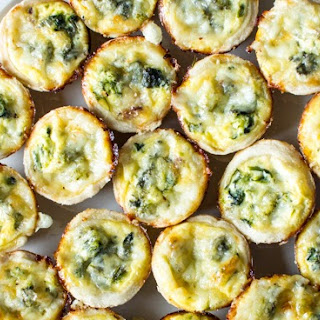 Cheesy Broccoli Rabe and Mushroom Mini Quiches.