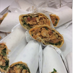mediterranean wraps can be served on gluten free bread. falafel is completely gluten free. gluten free drinks and hummus. and sandwiches including breakfast gluten free available