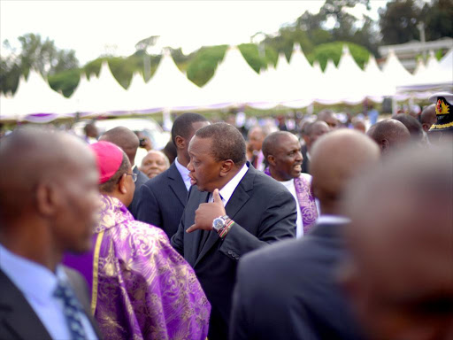 President Uhuru Kenyatta at the funeral of Archbishop John Njenga on November 13 /VICTOR IMBOTO