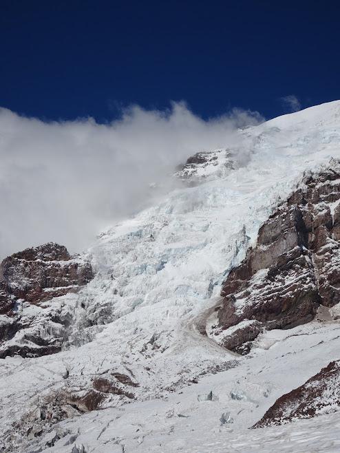 Massive glaciers on Mount Rainier