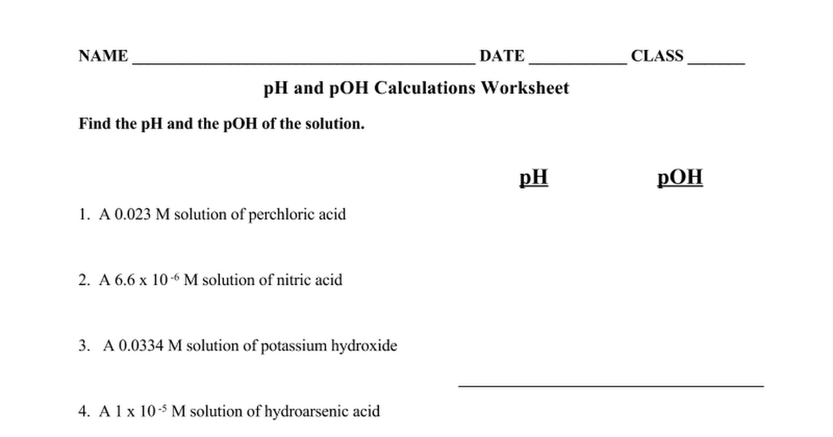 Ph And Poh Calculations Worksheet Delibertad – Ph Calculations Worksheet