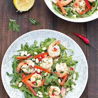 Spicy Shrimp Arugula Cannellini Salad