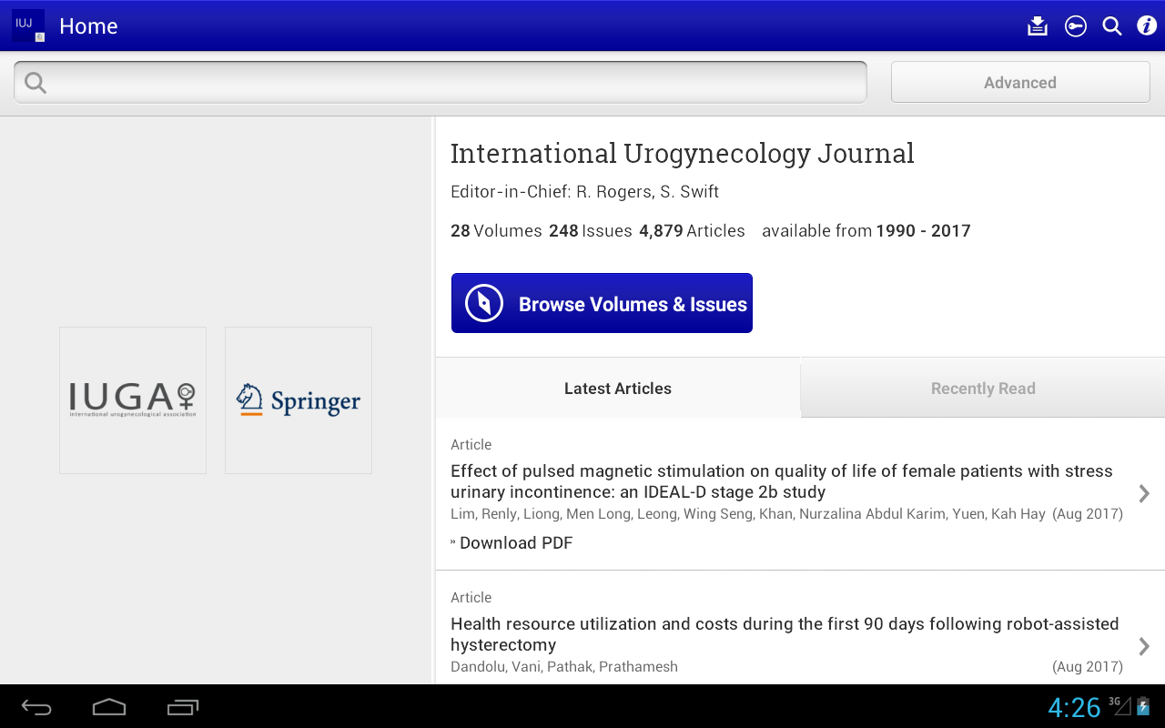 International Urogynecology Journal- screenshot