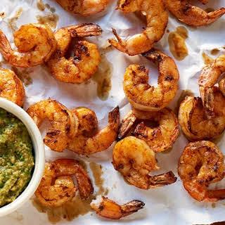 Spicy Shrimp with Charred Poblano Romesco.