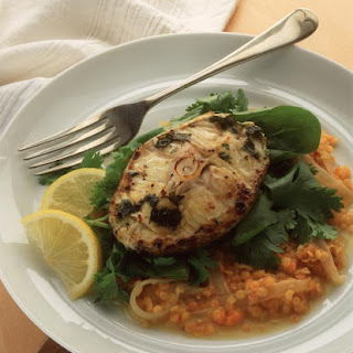 Cilantro Cod with Red Lentils