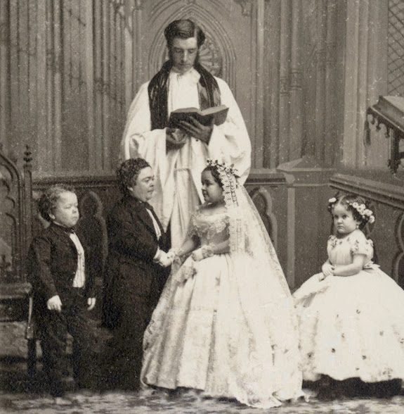 The Mathew Brady Studio's photo of the marriage of Charles Sherwood Stratton (Barnum's General Tom Thumb) to Lavinia Warren in 1863.