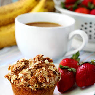 Strawberry Banana Muffins with Oat Streusel Topping.