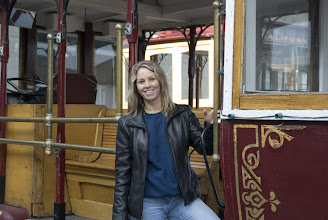 Photo: Deb on a cable car