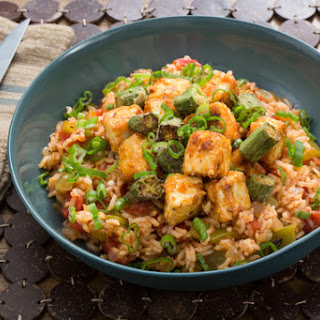 Cajun Tofu & Dirty Rice with Crispy Okra & Bell Pepper