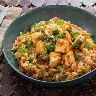 Cajun Tofu & Dirty Rice with Crispy Okra & Bell Pepper.