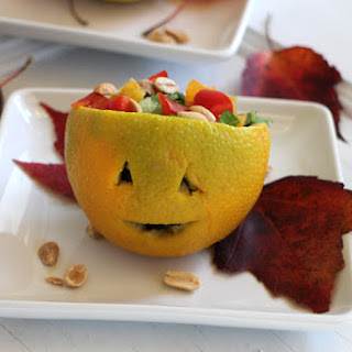 Jack O'Lantern Salad with Tangy Peanut Dressing