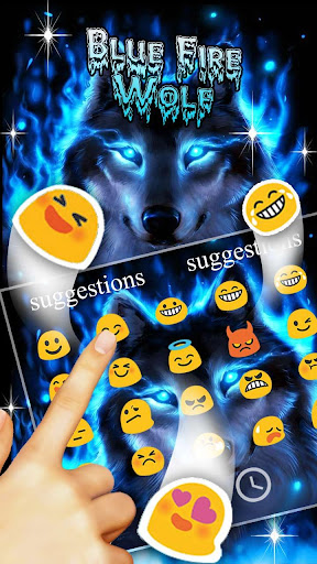 Blue Fire Wolf Keyboard Theme 10001004 screenshots 6