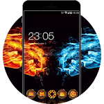 Cool Fire and Ice Neon Theme: Gold & Blue Icon