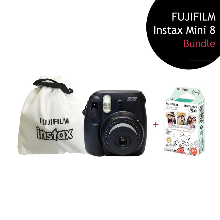 [Bundle] FUJIFILM Instax Mini 8 Camera (Black) + Winnie the Pooh Film Pack + Instax Pouch by My Pocket Net Sdn Bhd