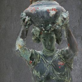 Statue in Grey by Edward Gold - Digital Art Things ( digital photography, woman, textured, woman carrying jug, grey statue, digital art,  )