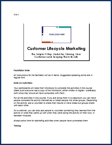 Customer Lifecycle Marketing - Speaker Notes
