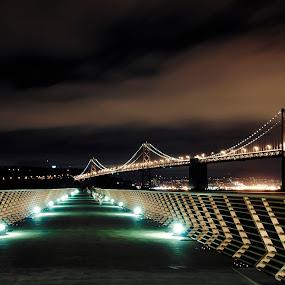 by Artem Kevorkov - City,  Street & Park  Skylines ( water, clouds, warm, ocean, blur, long expposure, lghts, lights, sky, bay, bridge. bay, bau bridge, pier, night, long exposure, bridge, nikon, san francisco )
