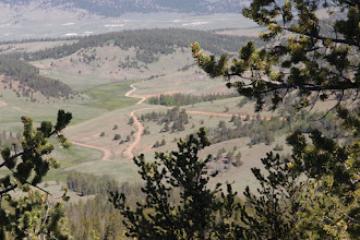 Photo: Here is the Cochetopa Pass road winding down into Cochetopa Park.  The Colorado Trail crosses at the switchback.