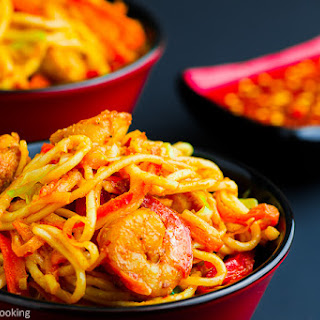Schezwan Noodles with Chicken and Shrimp.