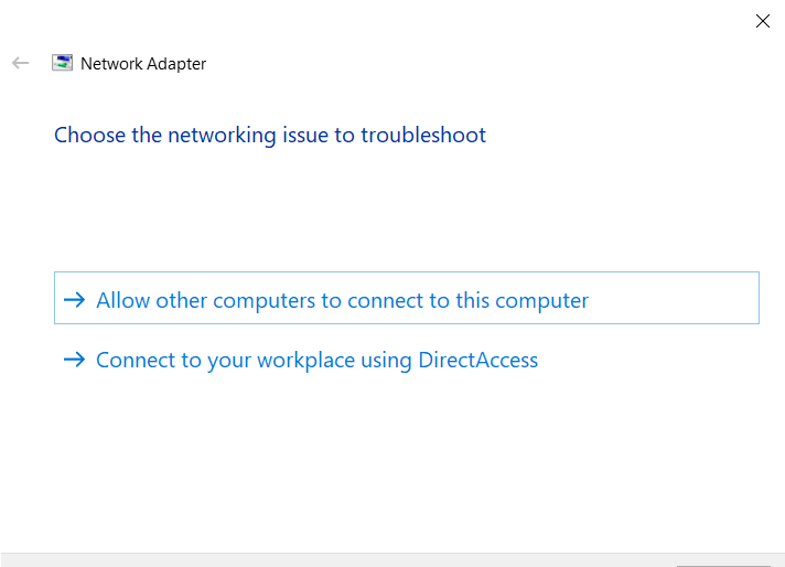 choose networking issue to troubleshoot