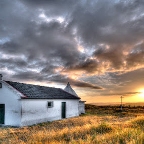 The chappel by Raul Nunes - Buildings & Architecture Places of Worship ( clouds, isolated, mountain, grass, sunset, sun, chappel )