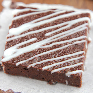 Peppermint Drizzled Chocolate Fudge Brownies.