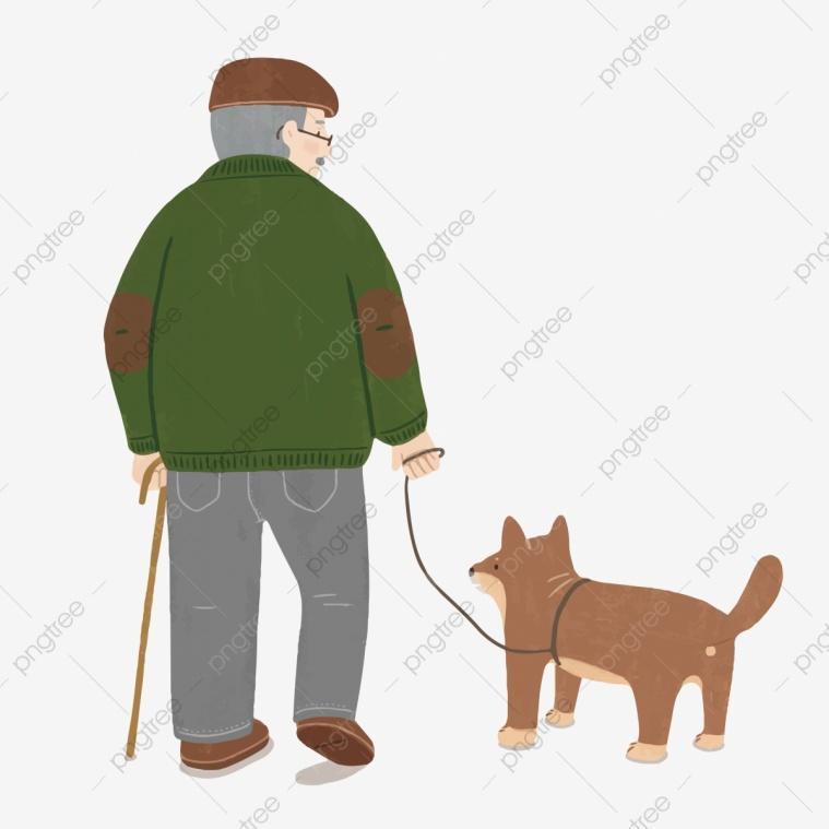Tuổi già hiu quạnh, chỉ còn chú chó trung thành bên cạnh..jpg