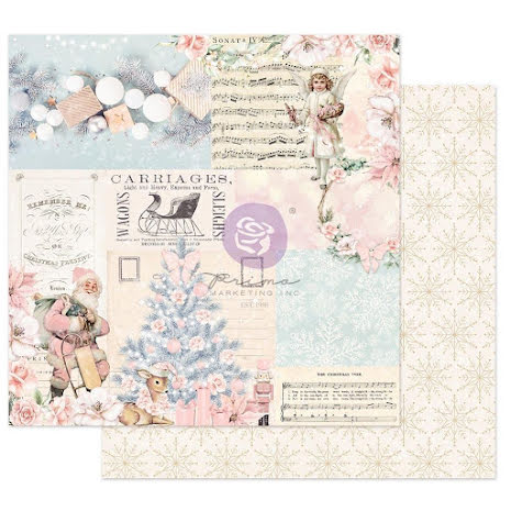 Prima Christmas Sparkle By Frank Garcia Cardstock 12X12 - Icy Blue Christmas